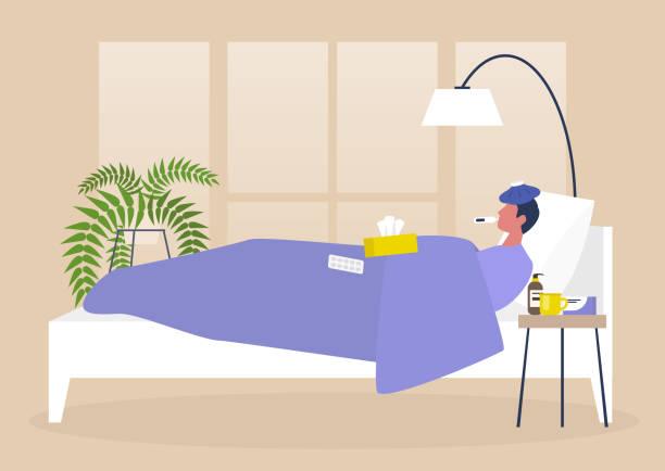 bildbanksillustrationer, clip art samt tecknat material och ikoner med ung manlig sjuk karaktär vilar i sängen, sovrum interiör, karantän, medicinsk behandling - sjukdom
