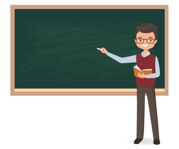 ilustrações, clipart, desenhos animados e ícones de jovem professor do sexo masculino está escrevendo o giz em uma lousa de escola - professor