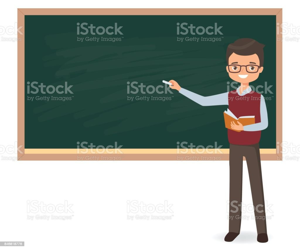 Young male teacher is writing chalk on a school blackboard vector art illustration