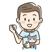 Young male veterinarian and cat with stethoscope