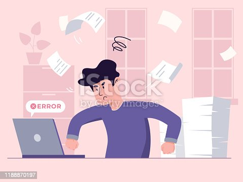 istock Young male-worker is fighting with his laptop, while his pile of papers stays unchecked. Burning deadlines concept. 1188870197