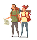 Young man with paper map and woman isolated on white background. Family couple backpacker, hitchhiker, traveler. Camping character. Tourist and tourism. Weekend and vacation time. Vector illustration