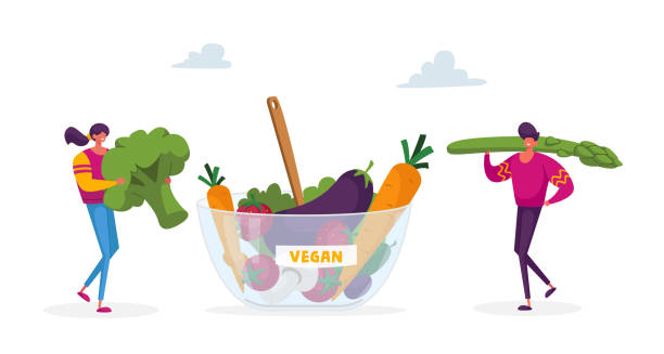 Young Man and Woman Characters Bring Huge Broccoli and Asparagus to Bowl with Vegan Food. Healthy Lifestyle and Organic Nutrition, Fresh Natural Fortified Products. Cartoon People Vector Illustration Young Man and Woman Characters Bring Huge Broccoli and Asparagus to Bowl with Vegan Food. Healthy Lifestyle and Organic Nutrition, Fresh Natural Fortified Products. Cartoon People Vector Illustration crucifers stock illustrations