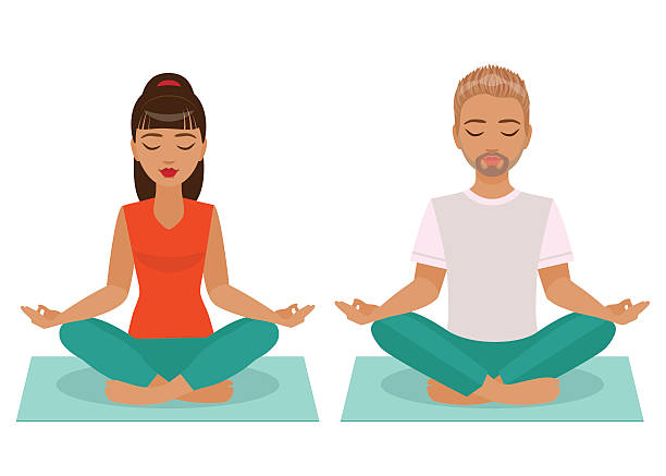 bildbanksillustrationer, clip art samt tecknat material och ikoner med young man and woman doing yoga - korslagda ben