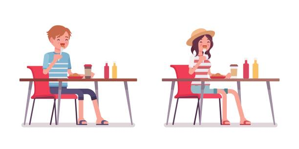 Young man and woman eating Young smiling man and woman wearing leisure summer fit, trendy stripe print, beach shoes, sitting and eating at the table. Vector flat style cartoon illustration, isolated, white background skinny pants stock illustrations