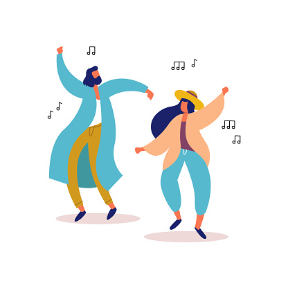 Young man and woman friends dancing to party music clipart