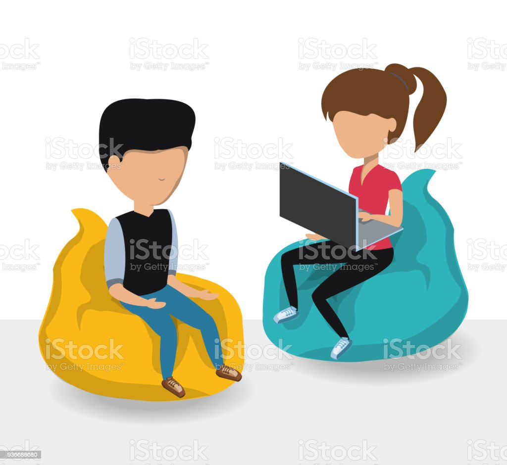 young man and woman icon vector art illustration