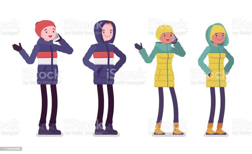 Junger Mann Und Frau In Daunenjacke Stehen Stock Vektor Art