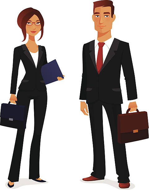 若い男性と女性でエレガントなビジネススーツ - 弁護士点のイラスト素材/クリップアート素材/マンガ素材/アイコン素材