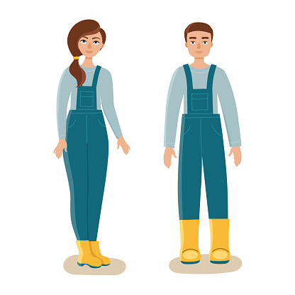Young man and woman in overalls and rubber boots.Workwear, work clothes.Gardening.Flat isolated vector on white background