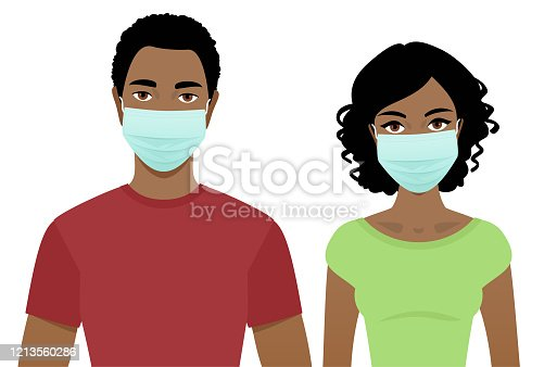 Young man and woman in surgical masks isolated on a white background.