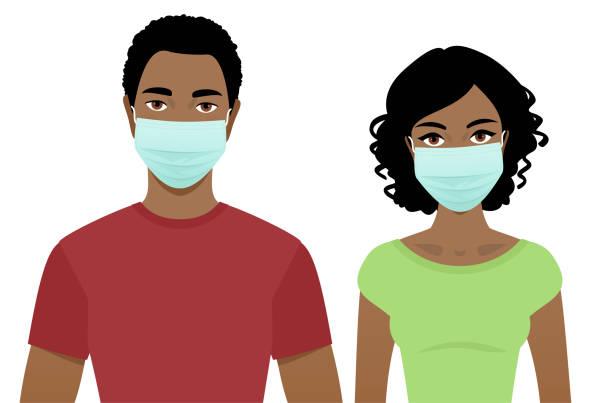 ilustraciones, imágenes clip art, dibujos animados e iconos de stock de joven y mujer con máscaras quirúrgicas - black people
