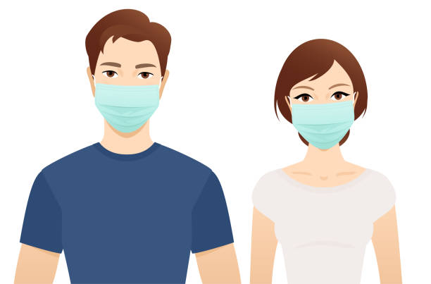Young man and woman in surgical masks Young man and woman in surgical masks isolated on a white background. looking at camera stock illustrations