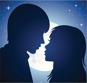 vector silhouette of young man and woman in the light of a moon