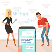 Young man and woman loudly laughing after hearing funny joke. Someone holding smartphone in hand. Cartoon people characters. Hahaha text. Brick wall on background. Colorful flat vector illustration.