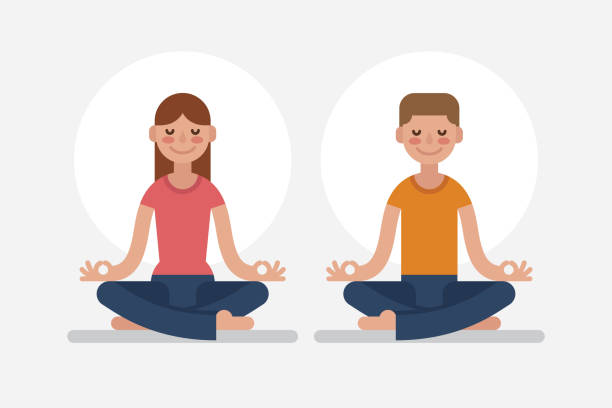 young man and woman meditating in lotus position. - meditating stock illustrations