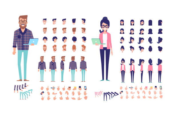 bildbanksillustrationer, clip art samt tecknat material och ikoner med ung man och kvinna programmerare skapande med olika åsikter, frisyrer, läppen synkronisering, känslor, attityder och gester. - manspersoner