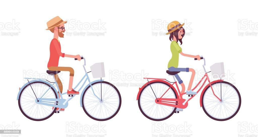 Jovem e mulher andar de bicicleta - ilustração de arte em vetor