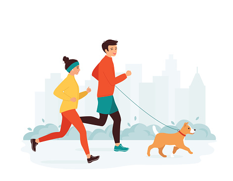 Young man and woman run in a city park with a dog. Family active healthy lifestyle concept, leisure activity, weekend. Morning, evening jogging. Vector illustration