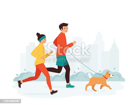 istock Young man and woman run in a city park with a dog. Family active healthy lifestyle concept, leisure activity, weekend. Morning, evening jogging. Vector illustration 1284696387