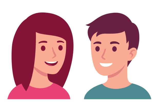 bildbanksillustrationer, clip art samt tecknat material och ikoner med ung man och kvinna pratar - young couple