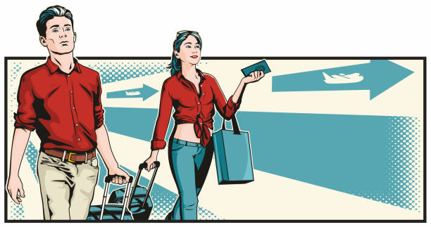 Young Man And Woman Travellers vector art illustration