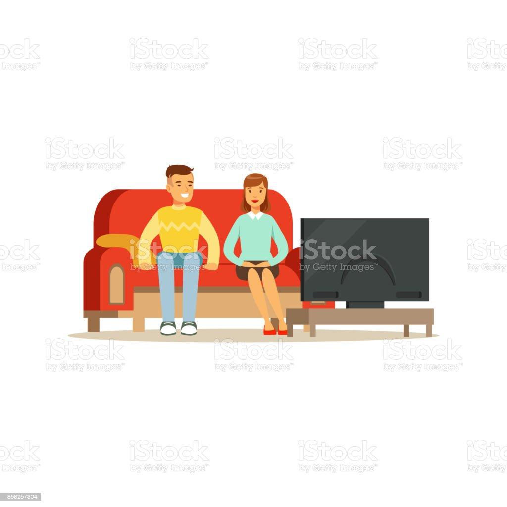 Jovem E Mulher Assistindo Tv Pessoas Sentadas Em Um Sof Em Uma Sala  -> Sala De Tv Cultura