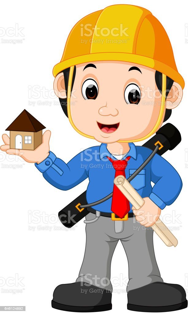 architect cartoon young engineer clip adult child vector architecture illustrations illustration indonesia boys graphics