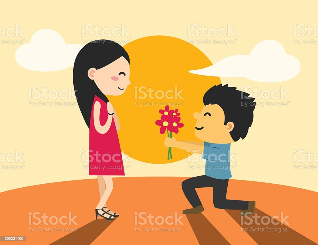 Young man are presenting flowers to a woman in love.