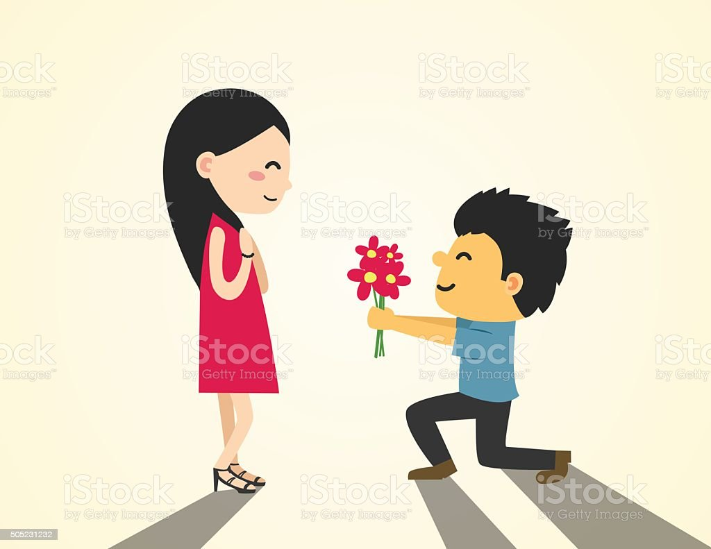 Young man are presenting flowers to a woman in love. vector art illustration