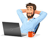 Vector illustration of a young man with a beard sitting in front of his laptop leaning back in his chair and relaxing, isolated on white. Concept for dreaming and daydreaming, work and relaxation, taking a break, satisfaction and working at home.