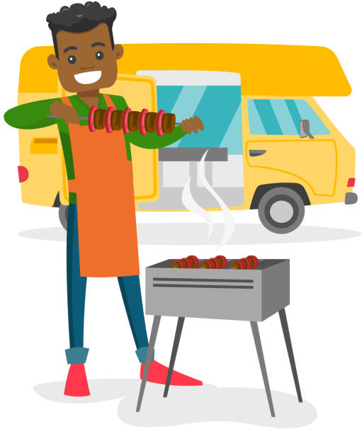 Young man barbecuing meat in front of camper van vector art illustration
