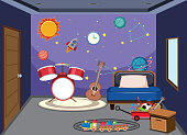 A young man bedroom illustration