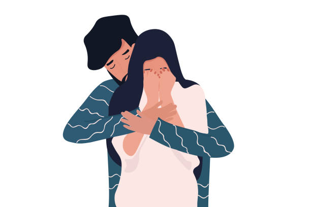 Young man calms his crying girlfriend Young man calms his crying girlfriend, embracing her from her back. Helping her to cope with her sadness and depression. Simple flat image isolated on white background grief stock illustrations