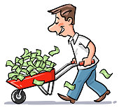 Young Man Carrying With A Wheelbarrow Full Of Money