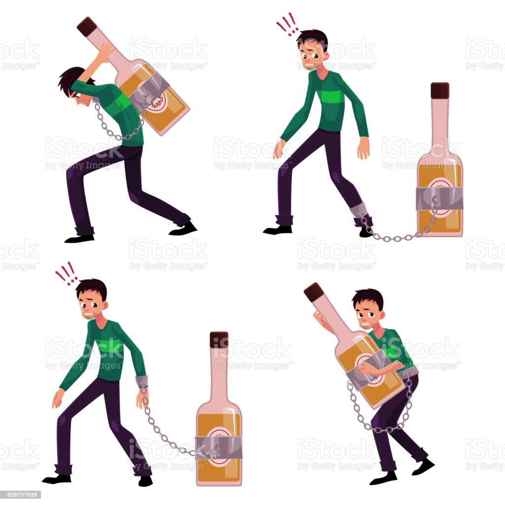 Young man chained to, carrying, holding bottle of liquor, booze vector art illustration