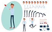Young man character creation set for animation.Young man taking photos with smart phone in various poses. Parts body template. Different emotions, poses and  running, walking, standing, sitting. Cartoon Vector Illustration.