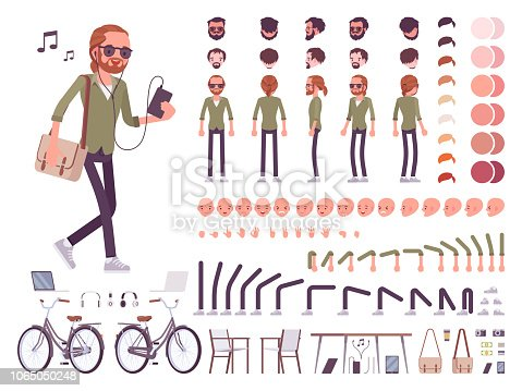 Young red-haired man character creation set. Boy with ginger ponytail and beard. Full length, different views, emotions, gestures. Build your own design. Cartoon flat style infographic illustration