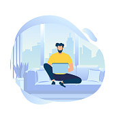 Young Bearded Man Character Work on Laptop Sitting on Sofa at City View Background. Distance Education, Social Media Networking. Distance Learning, Freelance Working Cartoon Flat Vector Illustration