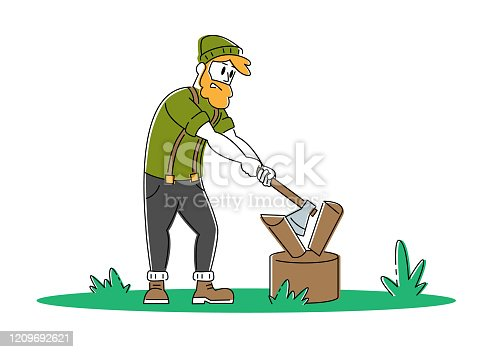 istock Young Man Chopping Wood. Bearded Guy with Ax in Hands Trying to Cut Logs and Timbers. Tourist Spend Time Outdoors on Nature. Camping, Hiking Active Lifestyle Cartoon Flat Vector Illustration, Line Art 1209692621