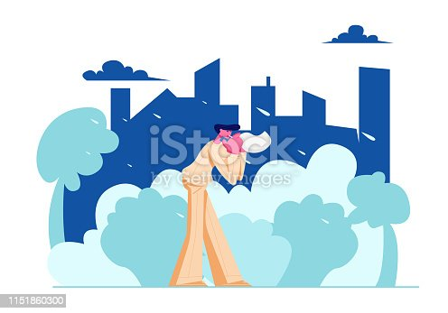 Young Man City Dweller Blow Nose in Handkerchief Walking on Street in Bad Rainy Weather on Cityscape Background. Seasonal Storm, Spring, Autumn, Meteorology Forecast Cartoon Flat Vector Illustration