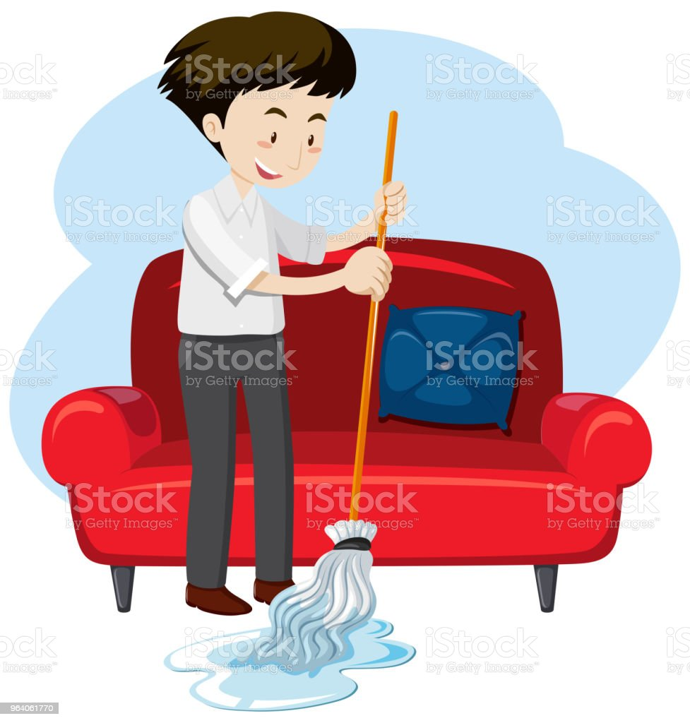 A Young Man Cleaning House - Royalty-free Adult stock vector