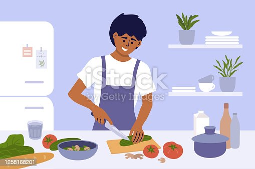 Young man cook healthy food at home. Smiling guy in apron preparing homemade meals in small kitchen. Father cooking dinner cutting ingredients for vegetable salad. Junior chef work vector illustration