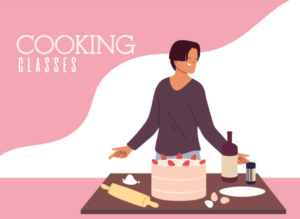 young man cook preparing a cake in cooking classes - busy restaurant kitchen stock illustrations