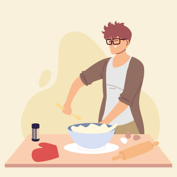 young man cook preparing a cake - busy restaurant kitchen stock illustrations