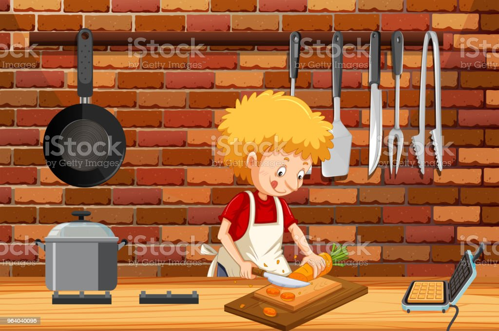 A Young Man Cooking in Kitchen - Royalty-free Adult stock vector