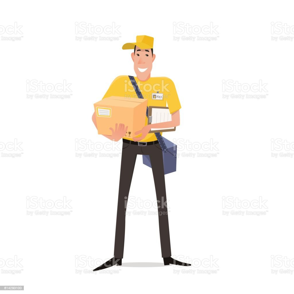 5e30454f932 Young Man Courier From Delivery Services In A Uniform Holding A Box And The  Plate With A Shuttle Sheet Isolated On White Backgroundyoung Man Courier  From ...