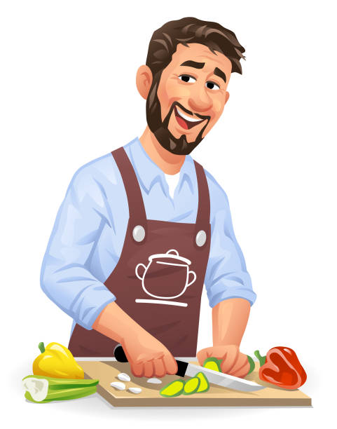 Young Man Cutting Vegetables Vector illustration of a laughing young man with a beard standing in the kitchen cutting vegetables, looking at the camera. Concept for cooking, preparing food, healthy eating, healthy lifestyles, vegetarian and vegan food. apron isolated stock illustrations