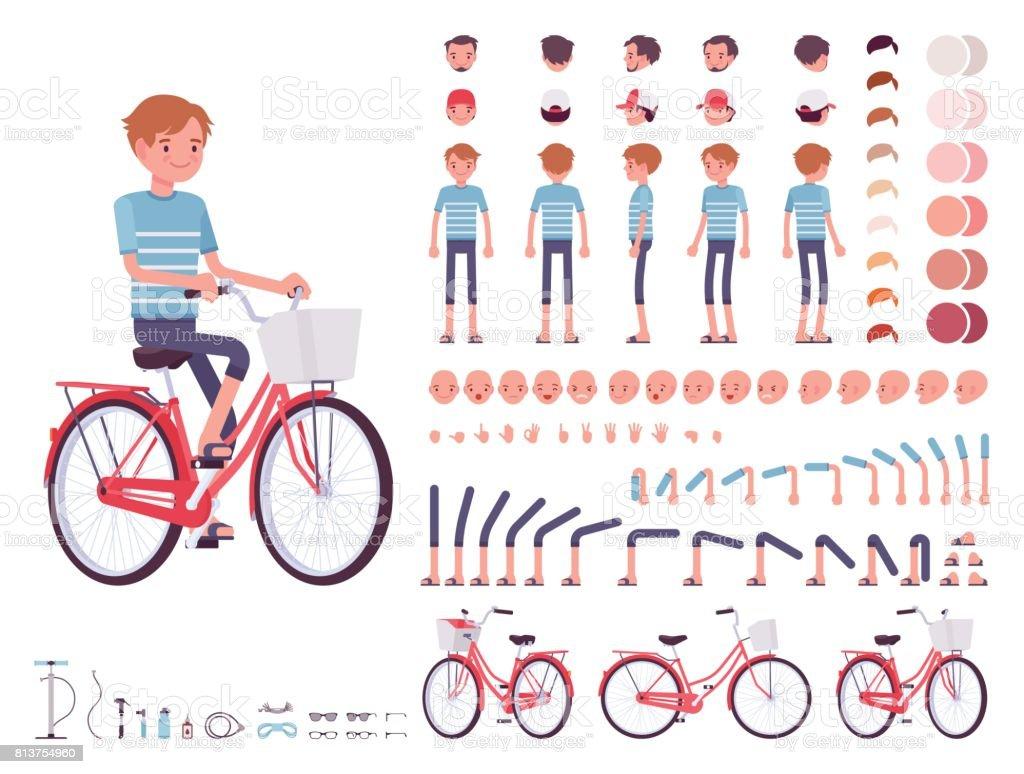 Young man cycling city bike. Character creation set vector art illustration