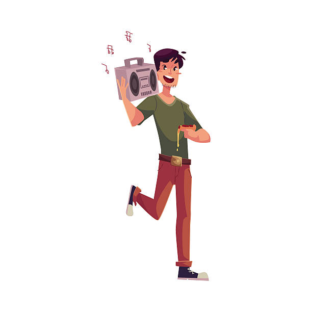 Young man dancing at party with tape recorder on shoulder vector art illustration